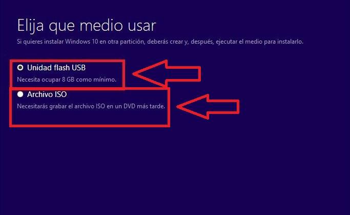 Elegir el medio de instalación con Media Creation Tool