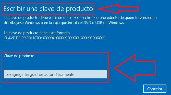 Insertar clave de producto Windows 10