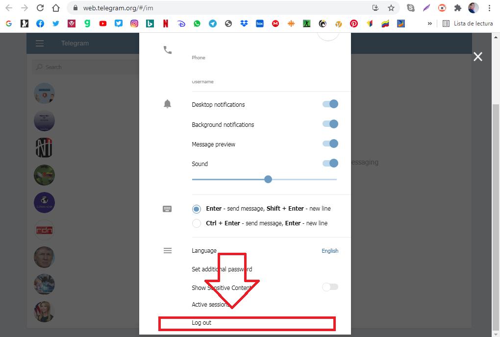 Cerrar Sesión Telegram Web