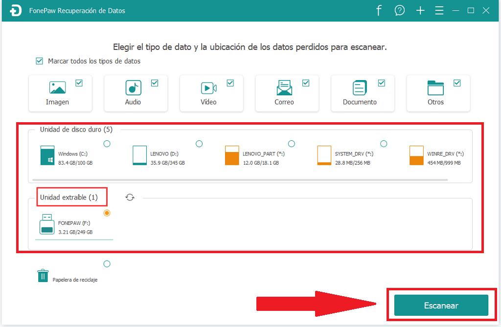 Elige la Memoria USB y dar click en Escanear