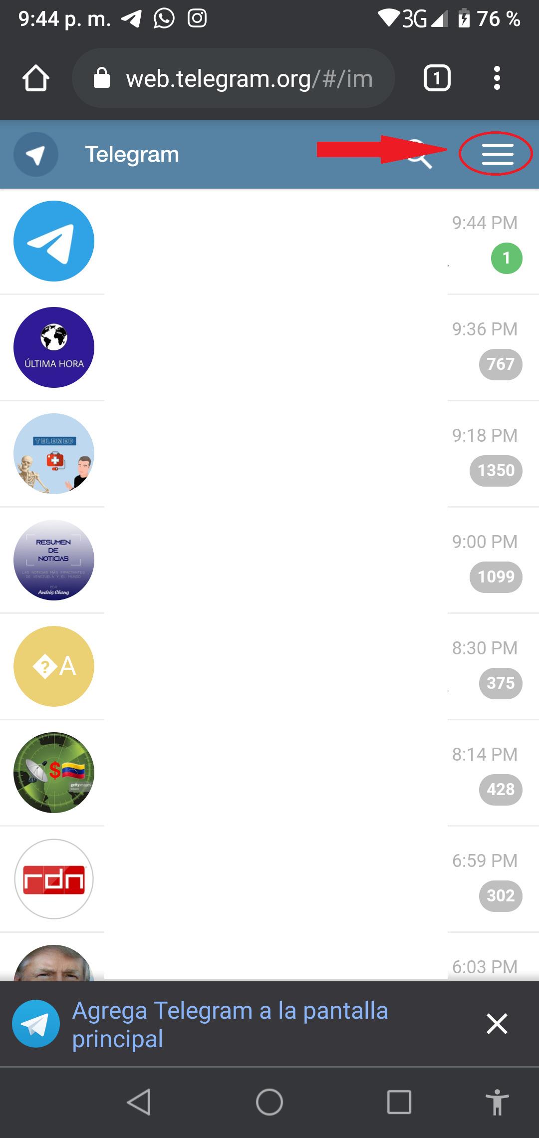 Interfaz Telegram Web Móvil
