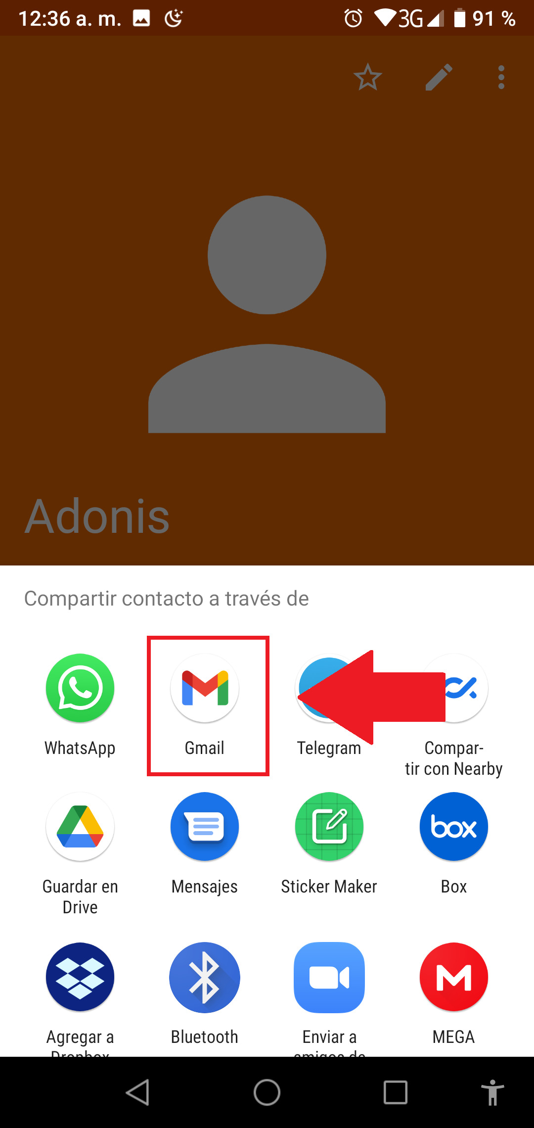 Compartir con Gmail un contacto