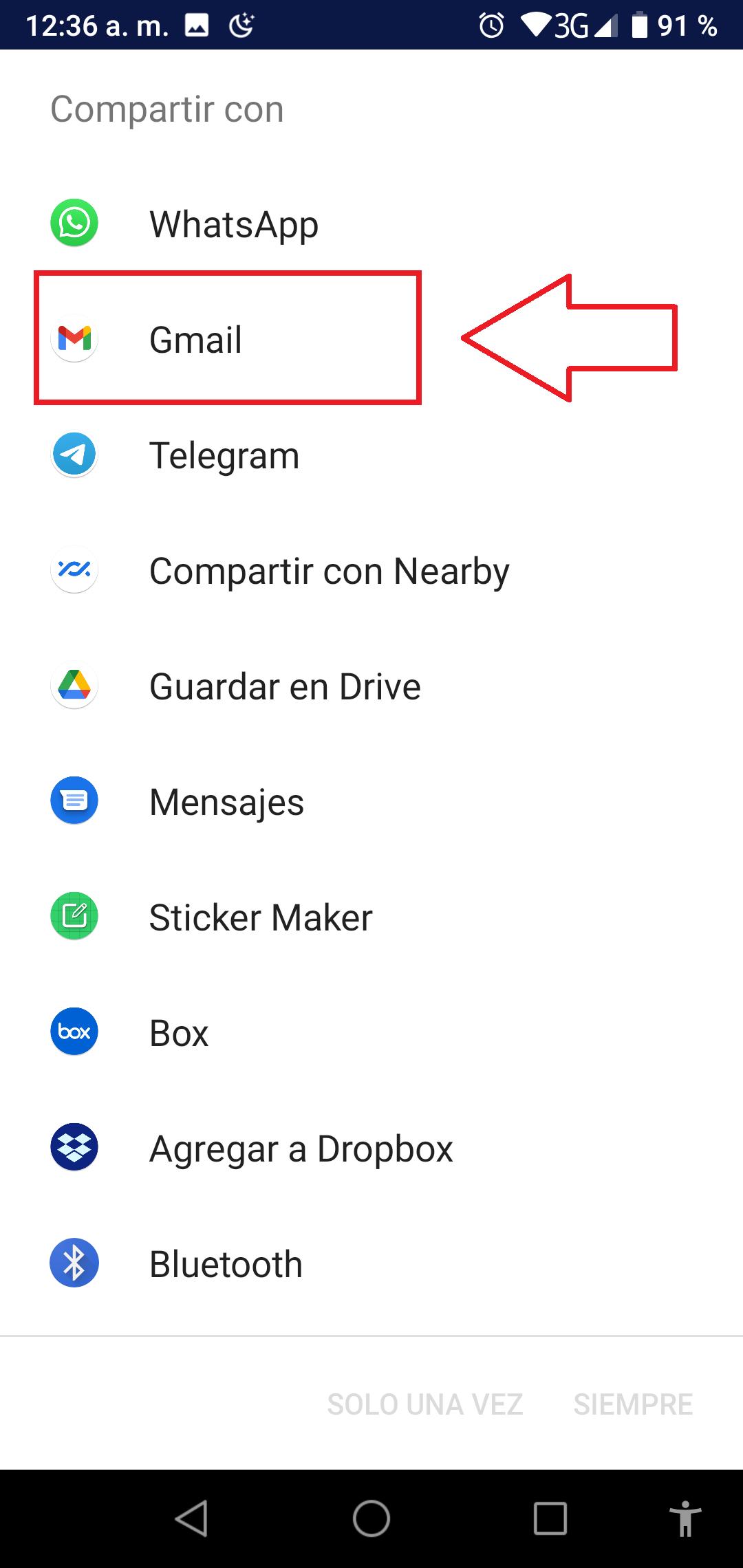 Compartir con Gmail