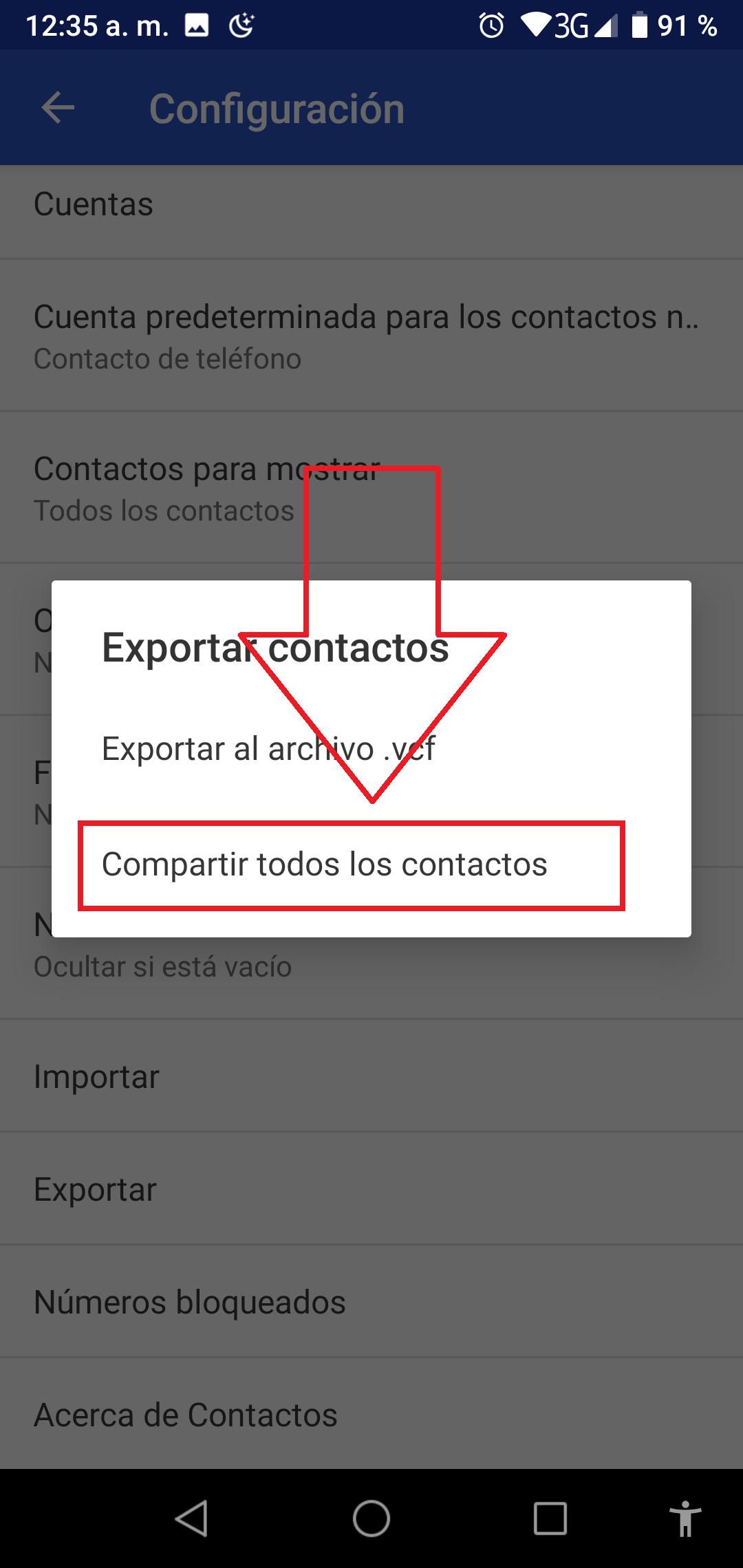 Compartir todos los contactos
